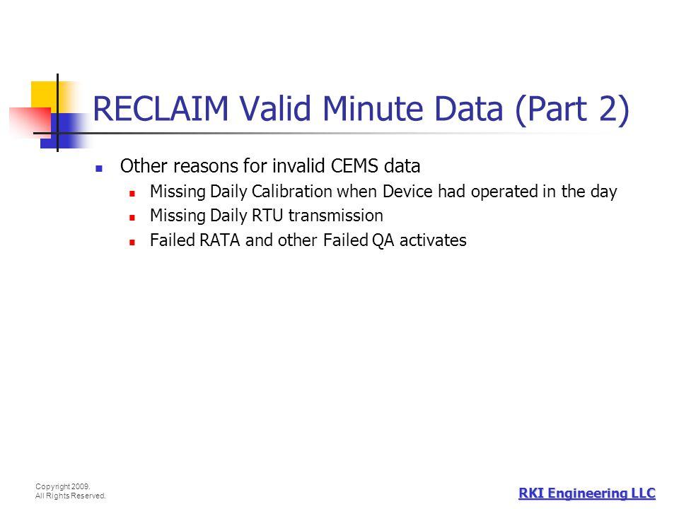 RECLAIM Valid Minute Data (Part 2)