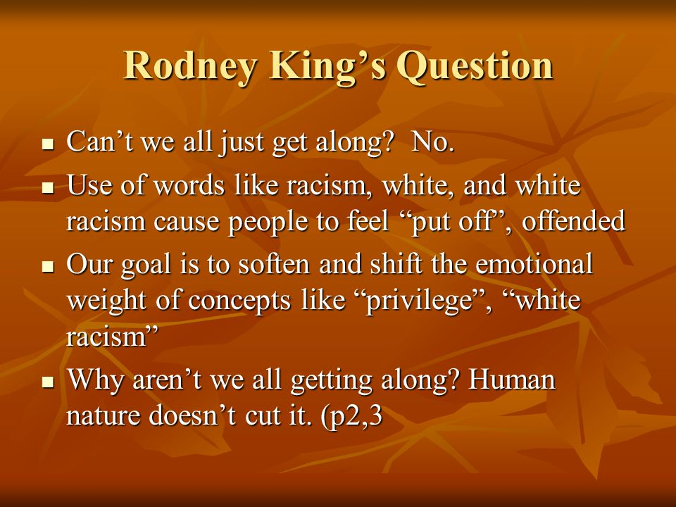 Rodney King's Question