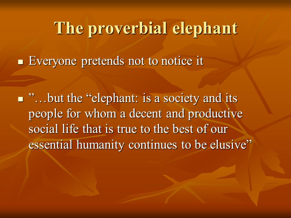 The proverbial elephant