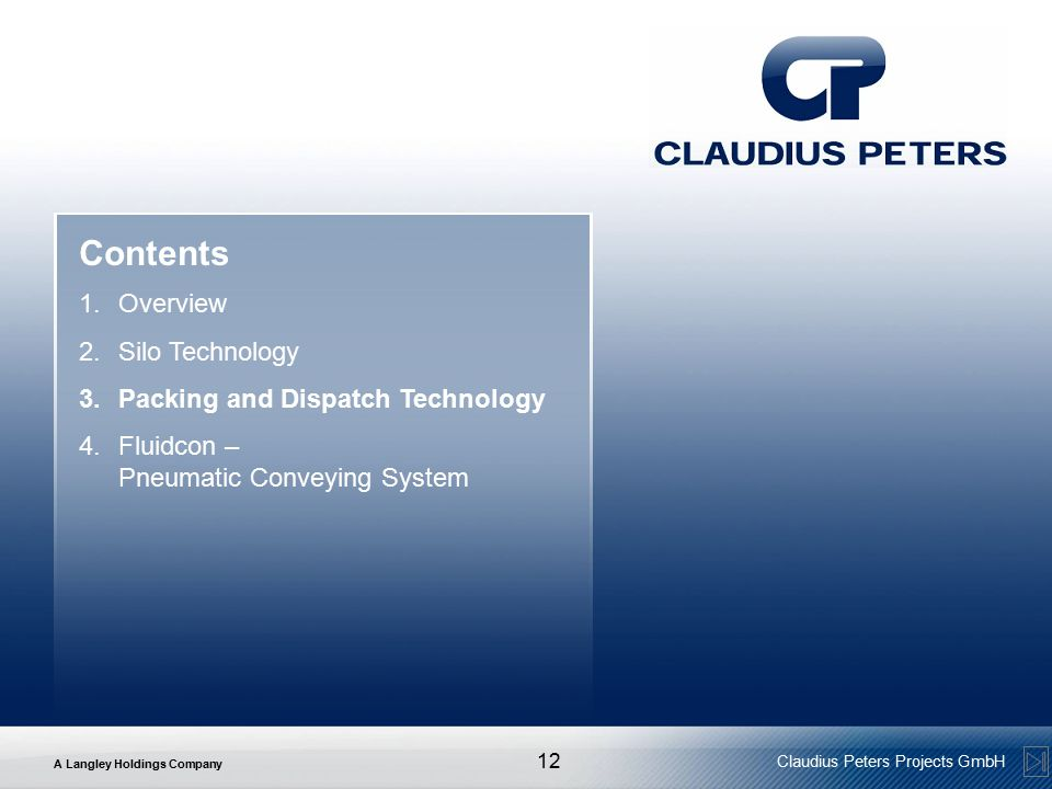 Contents Overview Silo Technology Packing and Dispatch Technology