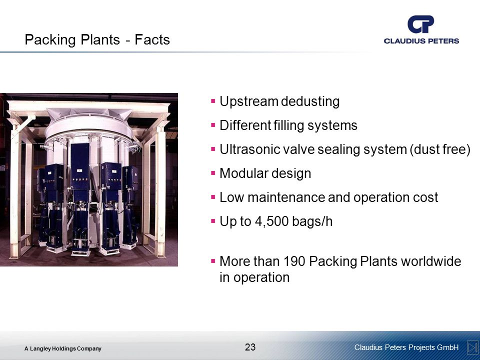 Packing Plants - Facts Upstream dedusting Different filling systems