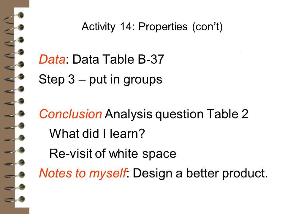 Activity 14: Properties (con't)