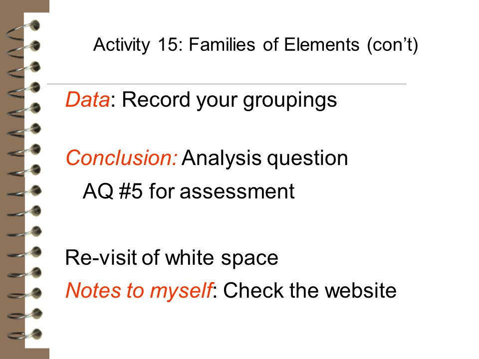 Activity 15: Families of Elements (con't)