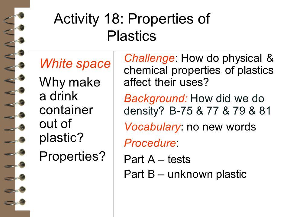 Activity 18: Properties of Plastics