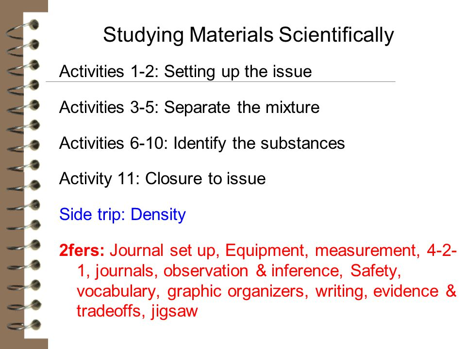 Studying Materials Scientifically
