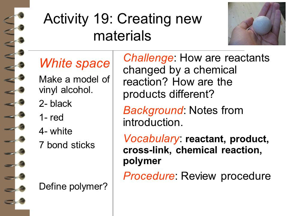 Activity 19: Creating new materials