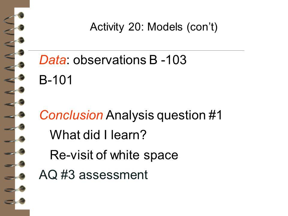 Activity 20: Models (con't)