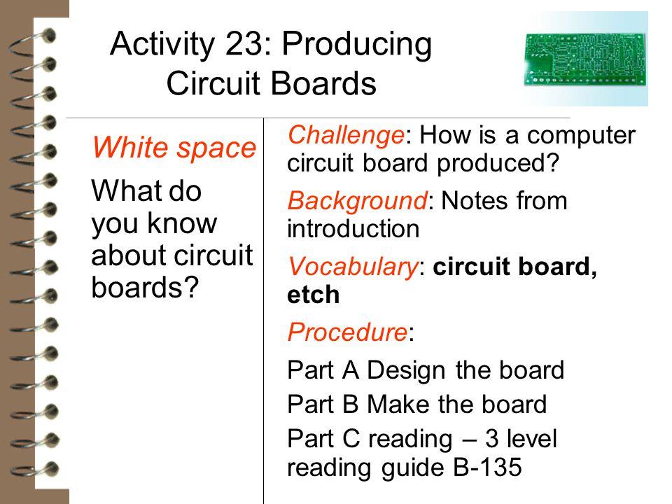 Activity 23: Producing Circuit Boards