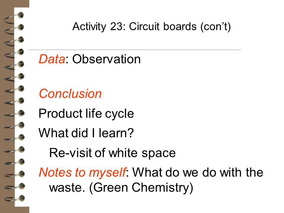 Activity 23: Circuit boards (con't)