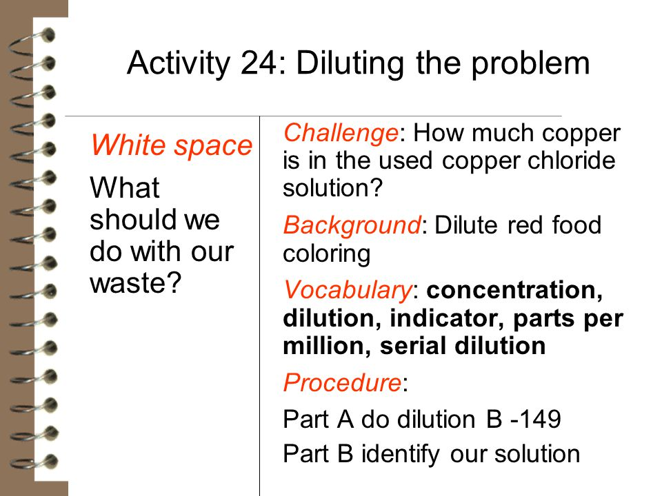 Activity 24: Diluting the problem