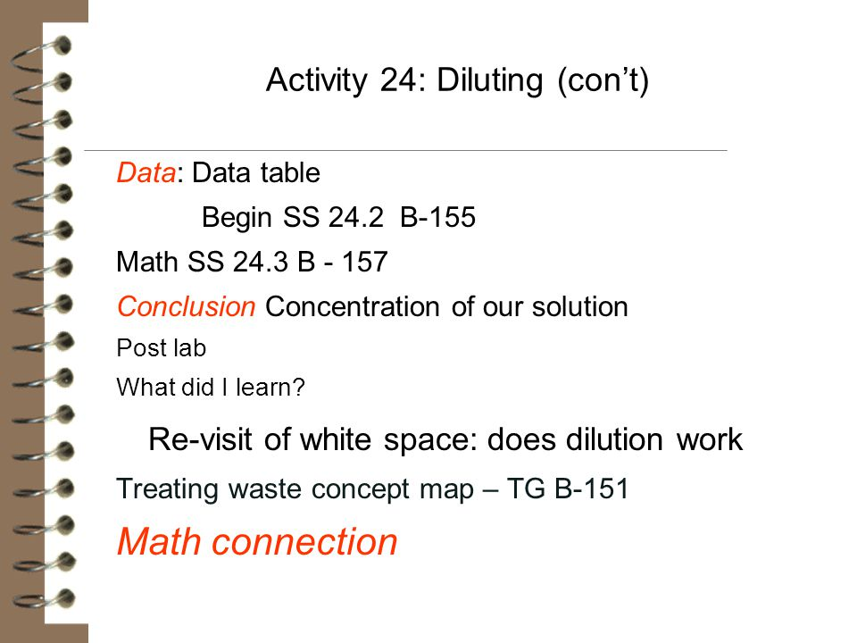 Activity 24: Diluting (con't)