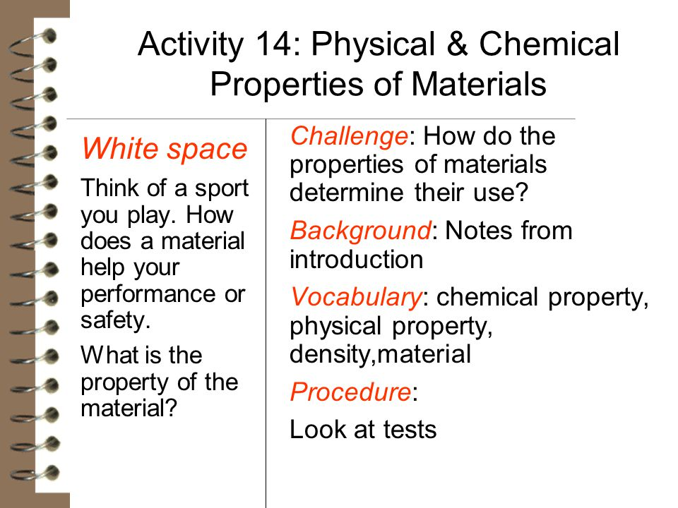 Activity 14: Physical & Chemical Properties of Materials