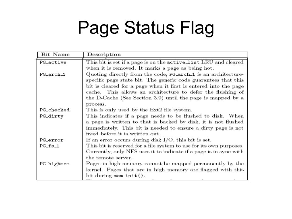 Page Status Flag