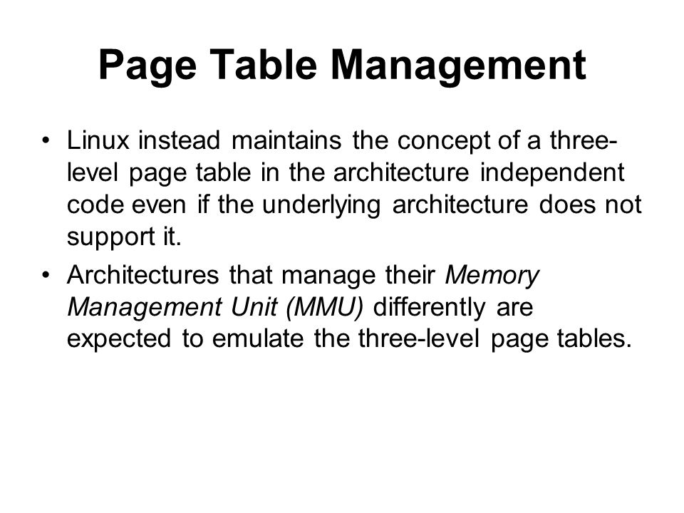 Page Table Management