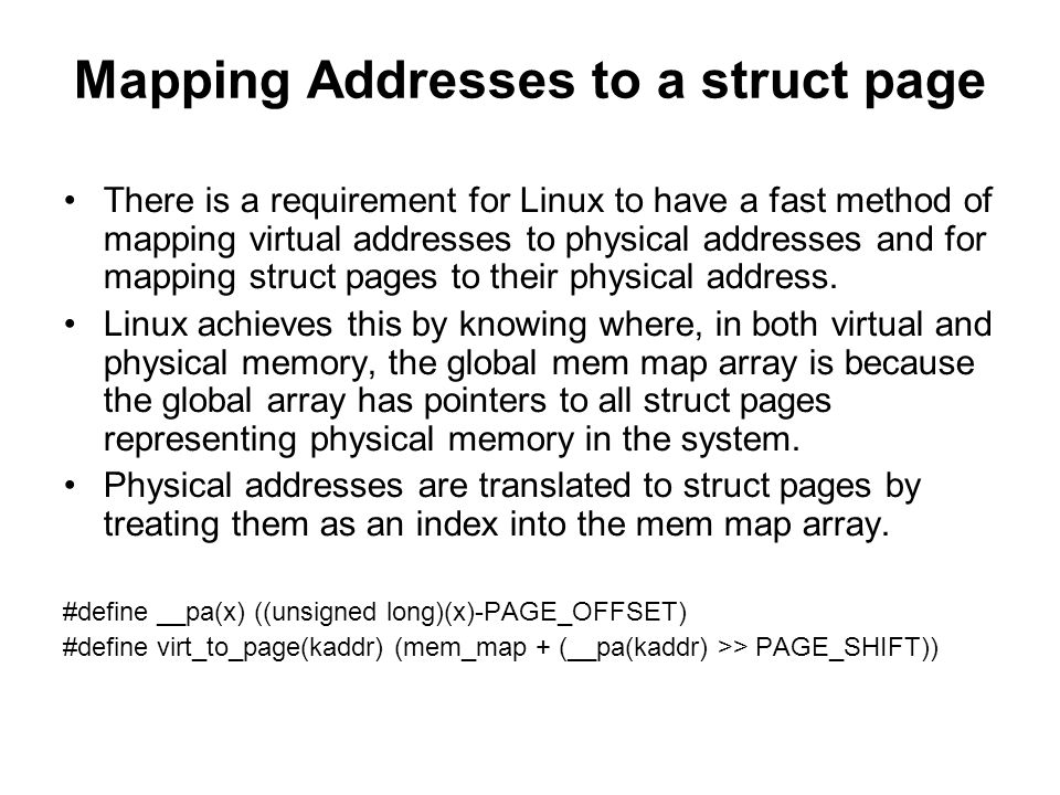 Mapping Addresses to a struct page