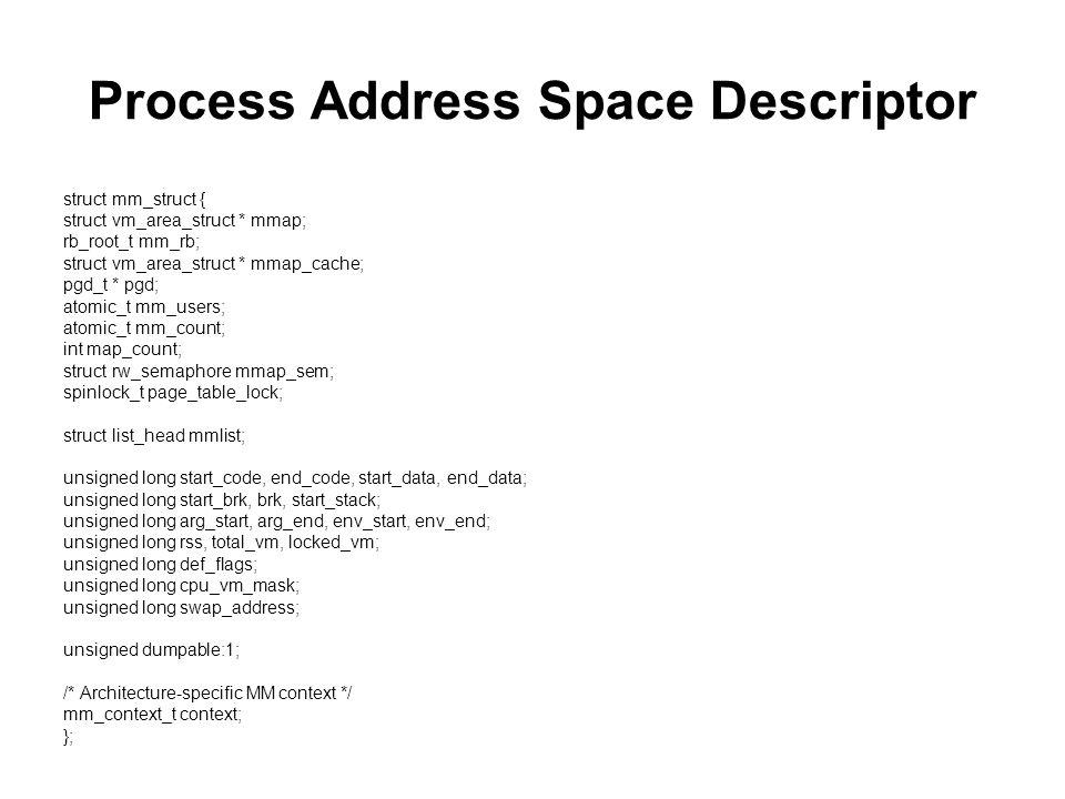 Process Address Space Descriptor