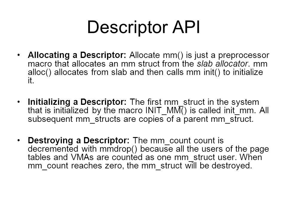 Descriptor API