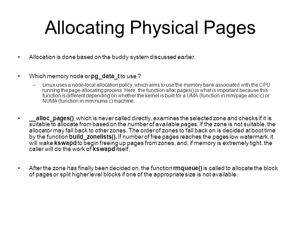 Allocating Physical Pages