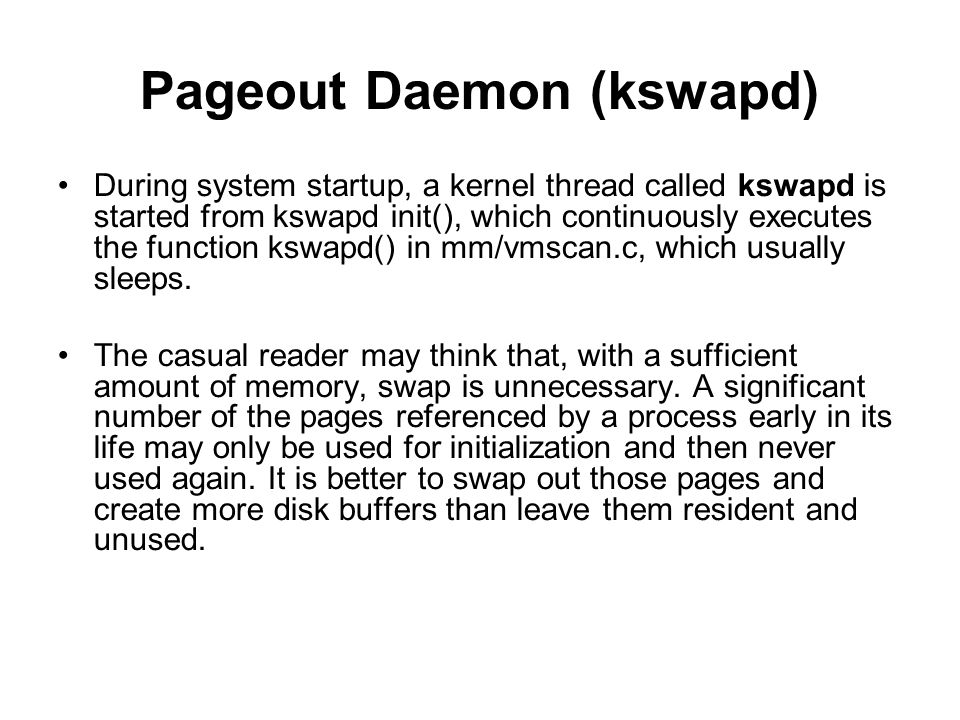 Pageout Daemon (kswapd)