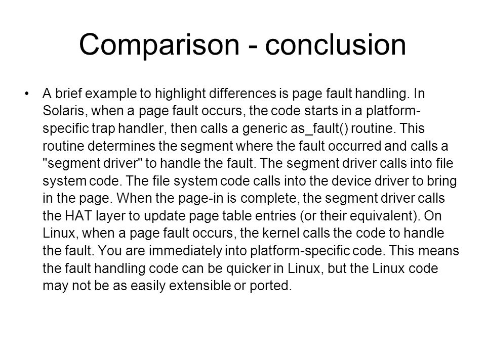 Comparison - conclusion
