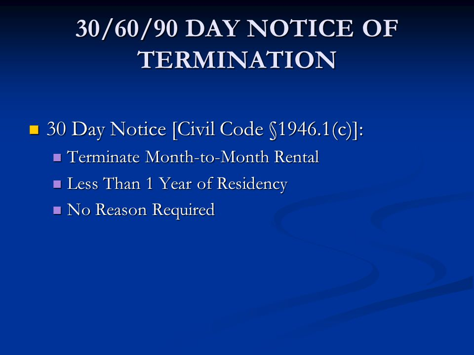30/60/90 DAY NOTICE OF TERMINATION