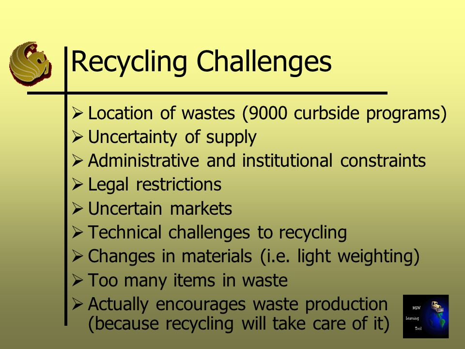 Recycling Challenges Location of wastes (9000 curbside programs)
