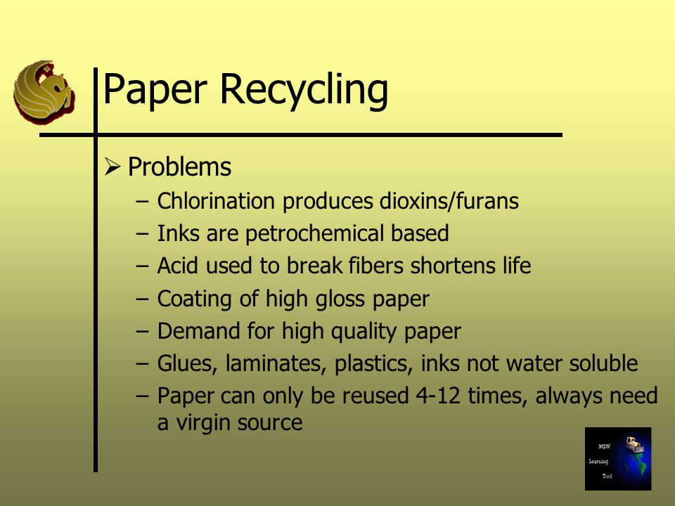 Paper Recycling Problems Chlorination produces dioxins/furans