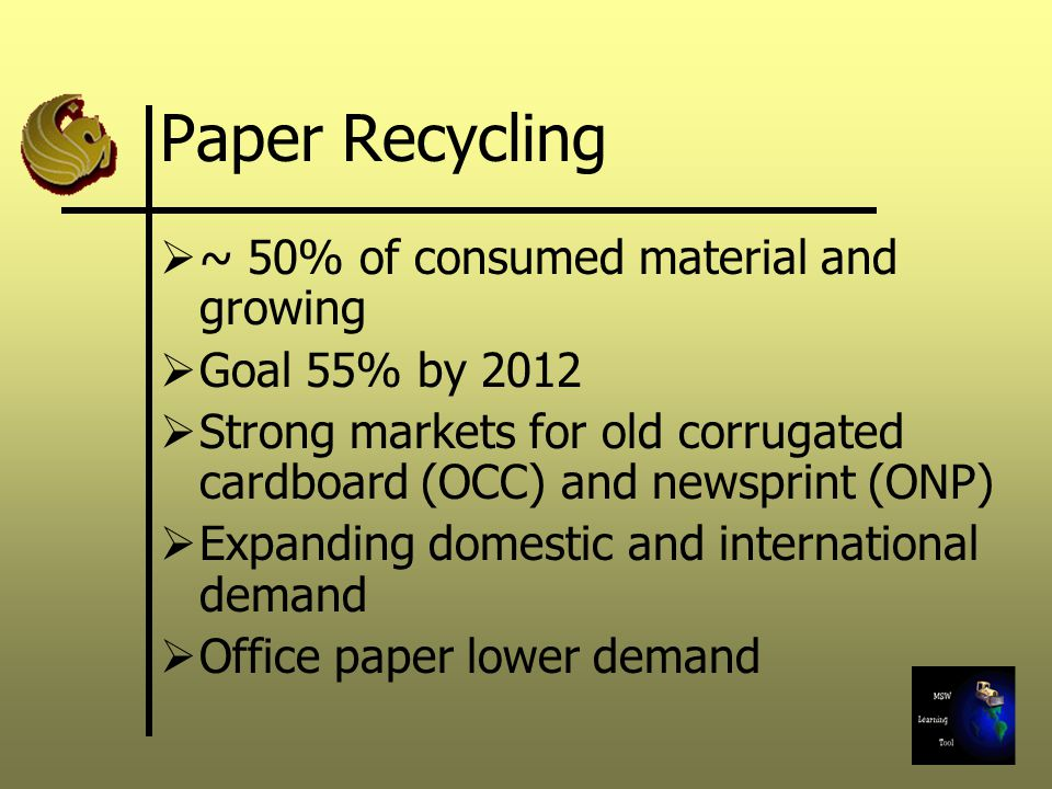 Paper Recycling ~ 50% of consumed material and growing