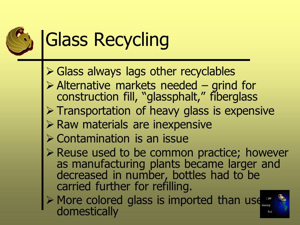Glass Recycling Glass always lags other recyclables