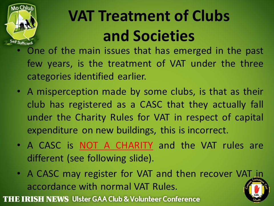 VAT Treatment of Clubs and Societies
