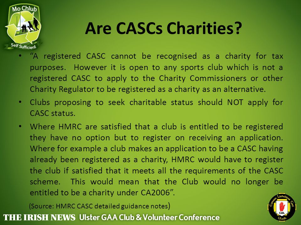 Are CASCs Charities