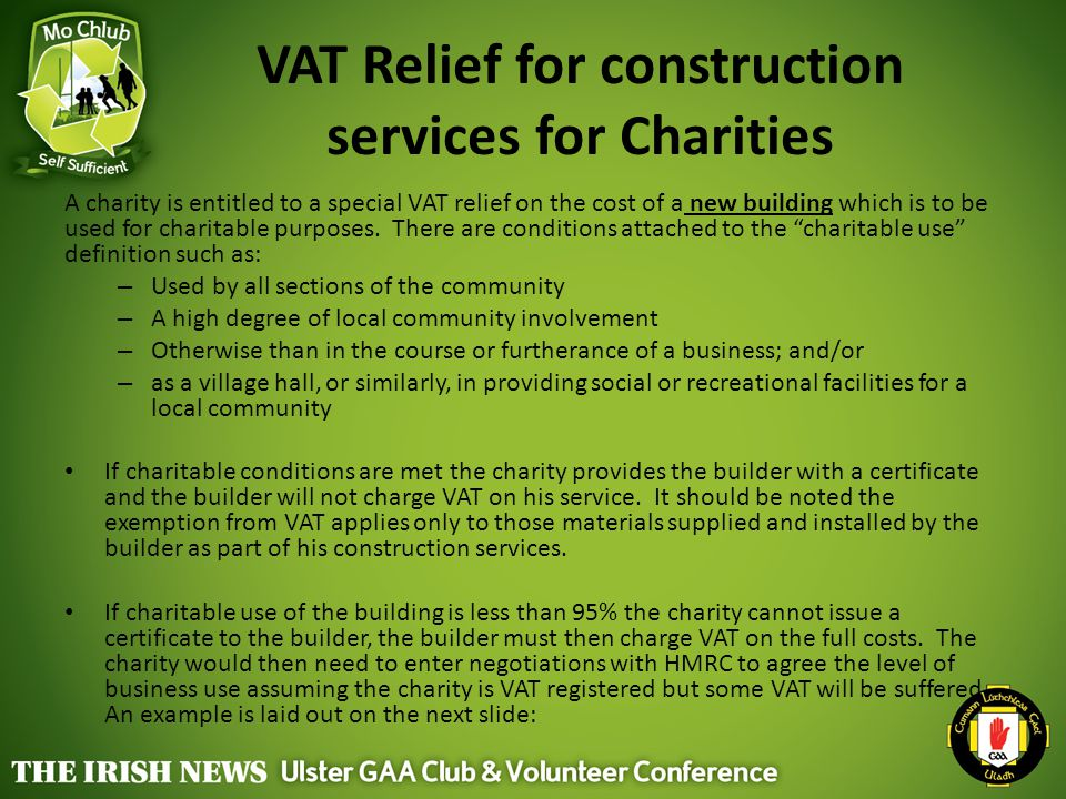 VAT Relief for construction services for Charities