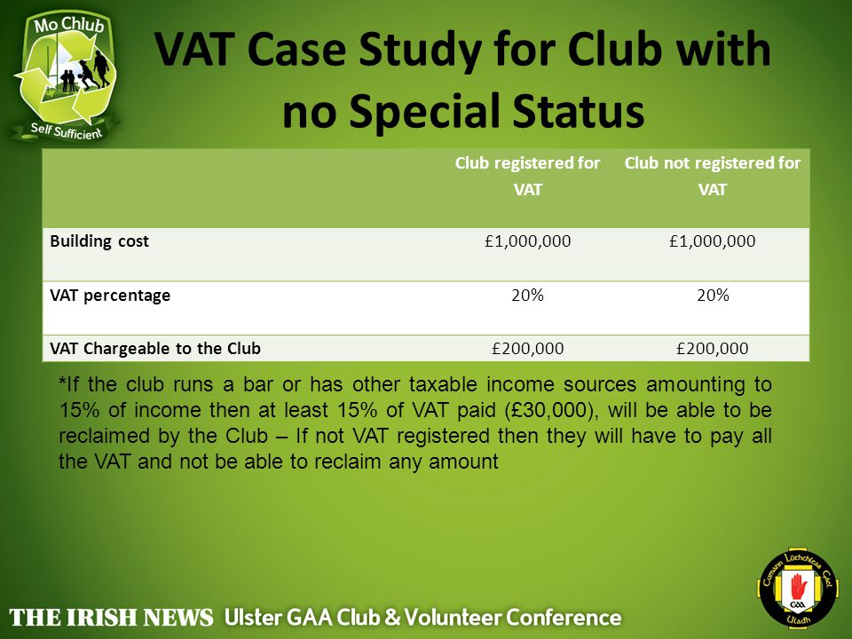 VAT Case Study for Club with no Special Status