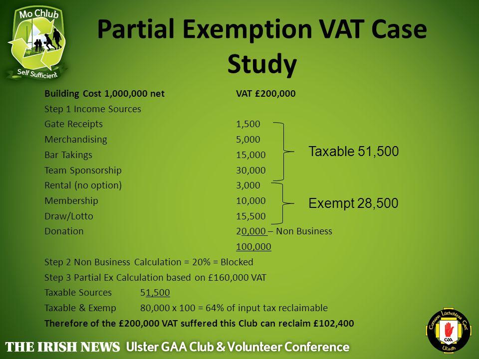 Partial Exemption VAT Case Study