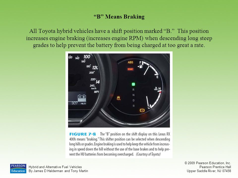 B Means Braking All Toyota hybrid vehicles have a shift position marked B. This position increases engine braking (increases engine RPM) when descending long steep grades to help prevent the battery from being charged at too great a rate.