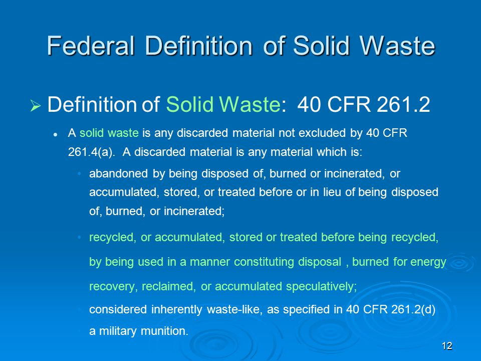 Federal Definition of Solid Waste