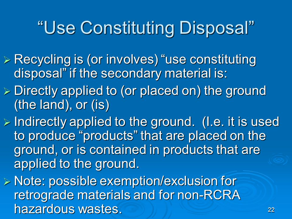 Use Constituting Disposal