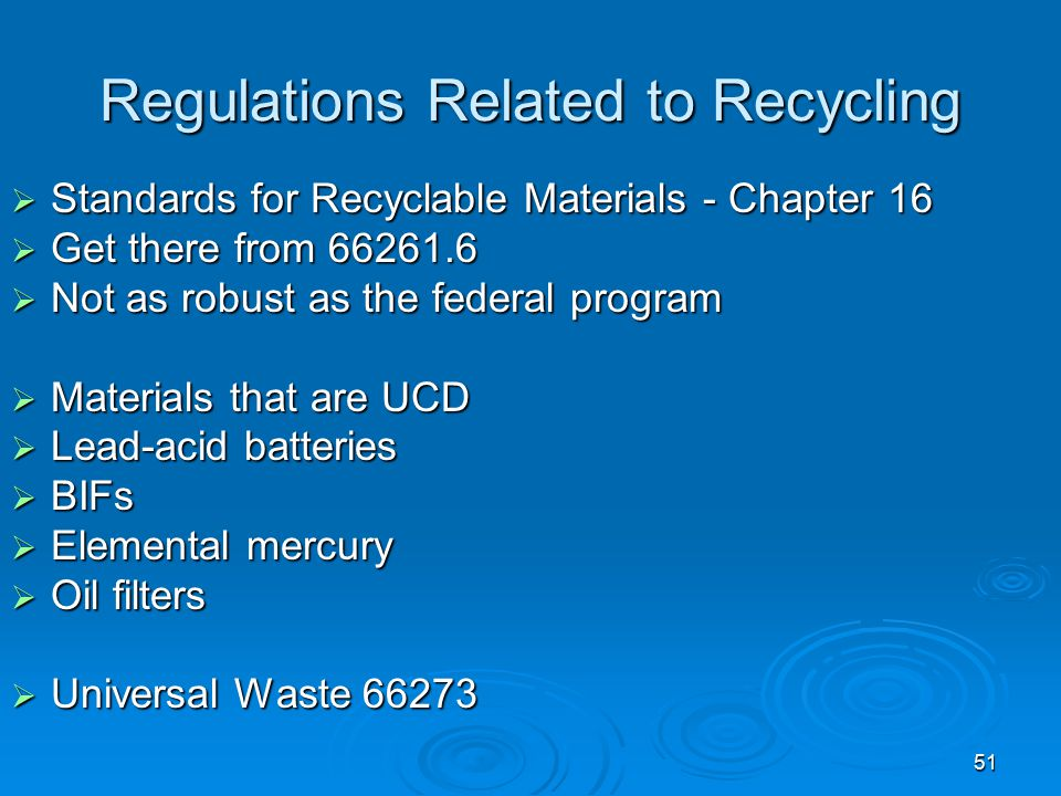 Regulations Related to Recycling
