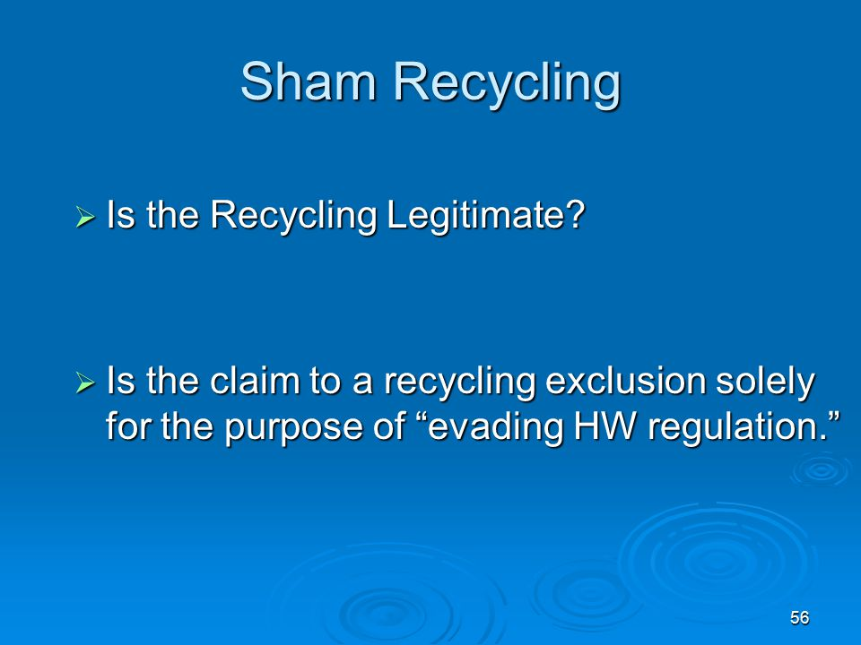 Sham Recycling Is the Recycling Legitimate
