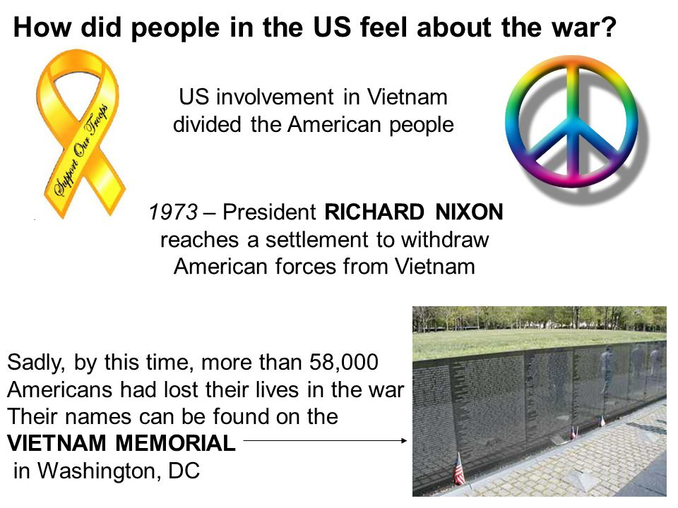 US involvement in Vietnam divided the American people