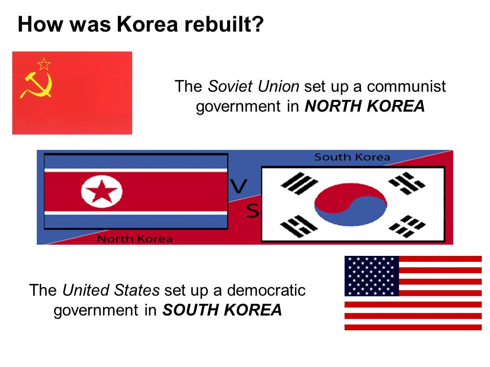 How was Korea rebuilt The Soviet Union set up a communist government in NORTH KOREA.