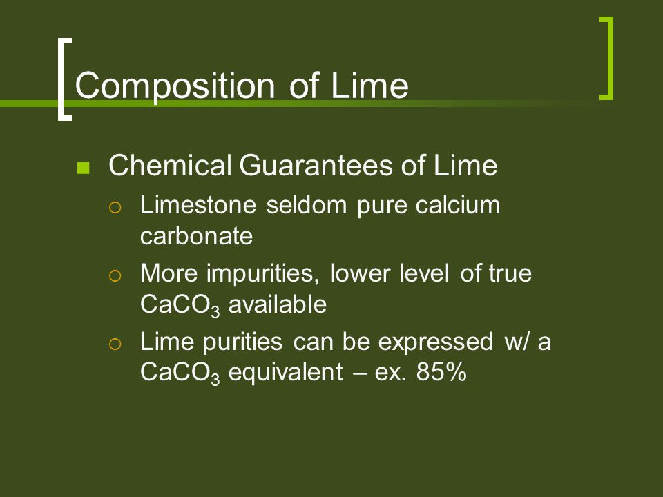 Composition of Lime Chemical Guarantees of Lime