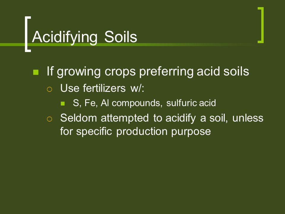 Acidifying Soils If growing crops preferring acid soils