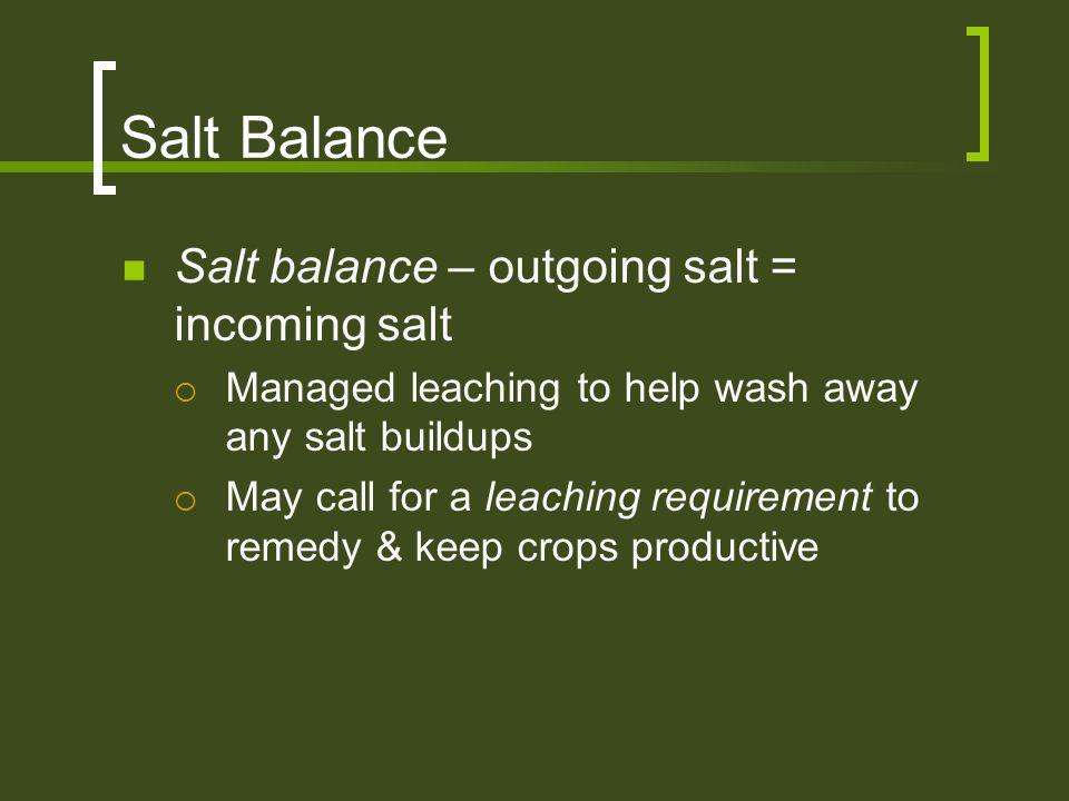 Salt Balance Salt balance – outgoing salt = incoming salt