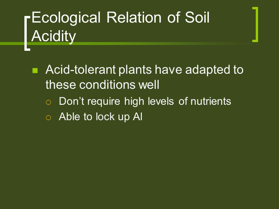 Ecological Relation of Soil Acidity