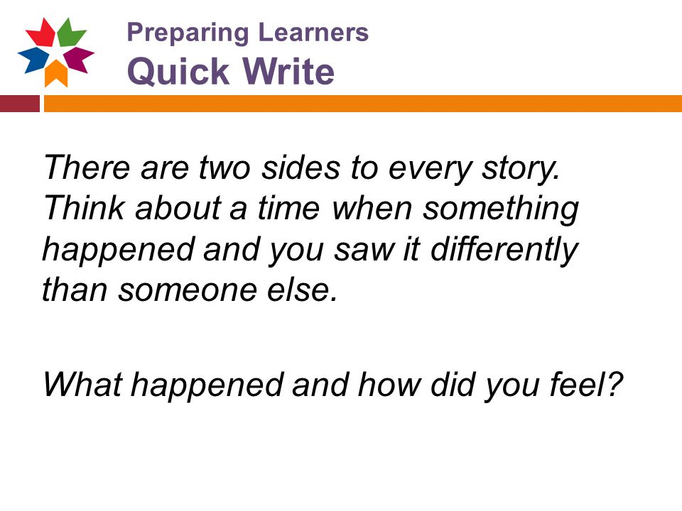 Preparing Learners Quick Write