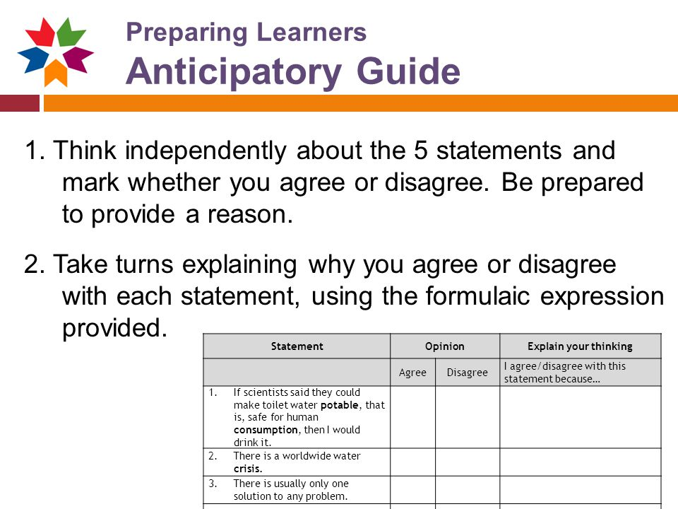 Preparing Learners Anticipatory Guide