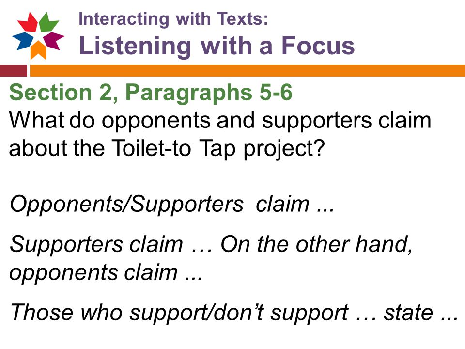 Listening with a Focus Section 2, Paragraphs 5-6