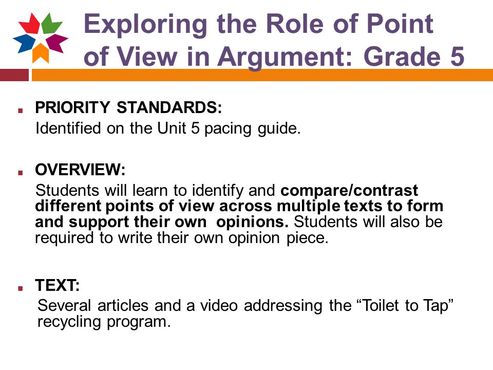 Exploring the Role of Point of View in Argument: Grade 5