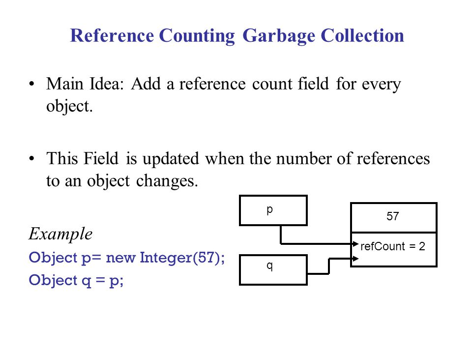 Reference Counting Garbage Collection